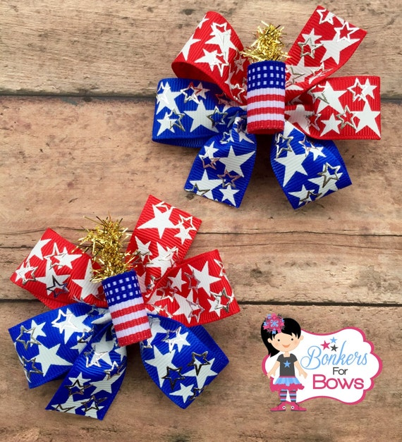 4th of July hair bows