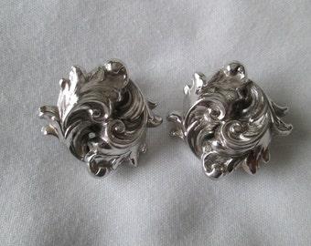 Whiting Davis Silver Tone Clip Earrings