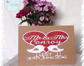 Personalised Mr and Mrs Wedding Card  - Papercut