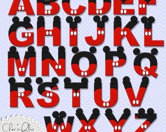MOUSE ALPHABET LETTERS -  Mouse Digital Letters, Mouse Alphas, Mickey Mouse Alphas, 8.5x11,  - Instant Download