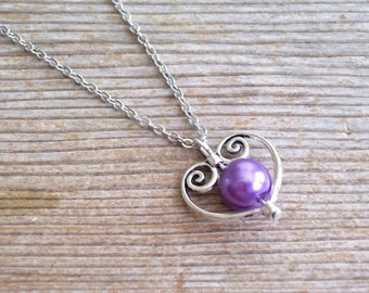 Heart Necklace, Bridal Necklace, Filigree Silver Heart Pendant Necklace, Purple Pearl Bead, Bridal Jewelry, Silver Heart Jewelry Set