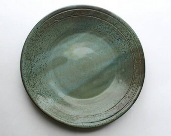 "Green and Blue Speckle Dinner Plate / 9.5"" Dinner Plate / Double Curve Motif / Wabanaki Design / Made to Order"