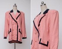 1980s Vintage Pastel Pink Back Oversized Retro Suit Jacket | 80s Pink Boyfriend Blazer Boxy Jacket | Double Breasted Formal Jacket | L