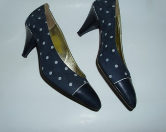 80er Vintage rockerbilly Peeptoe Leder Pumps 38,5
