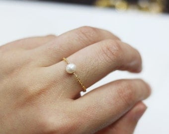 brass gold single pearl ring,custom size ring,fashion knuckle ring,stackable ring,minimal ring,delicate ring,bridesmaid jewelry,wedding gift