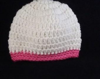 White and pink hat, Crochet baby hat,crochet hat for girl, infant's hat, hat for girls