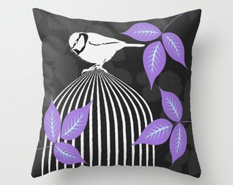 16 x 16 | Perching White Bird | Bird Cage | Zippered Polyester Pillow | Assorted Colors | Home Decor