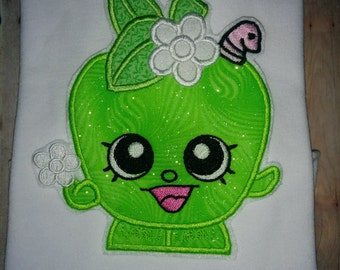 Girls Shopkins Shopkin Apple Blossom Boutique Birthday! Embroidered Applique Shirt! 2 3 4 5 6 7 8 10 12 Toddler Baby Girl