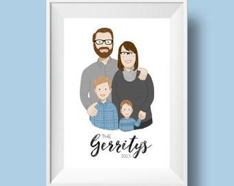 Custom Family Portrait Illustration (Art Print)