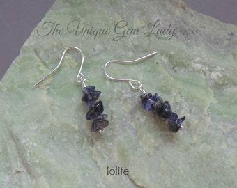 Iolite Chip Bead Beaded Earrings ~ Gemstone Crystal Healing ~  Handmade