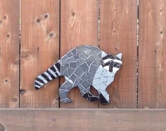 Outdoor yard ornament, raccoon, animal sculpture, garden, tile mosaic art, yard art, country living