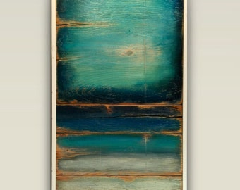 Teal abstract,painted on wood,nautical art,reclaimed wood wall art,teal tan gray,original art,hand painted,large abstract,wood art,beach art