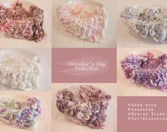 Merino Silk  Baby Handspun Glamlayer  Blanket Photo prop - Pink - newborn Basket filler - Toddler Portrait- Valentines Prop