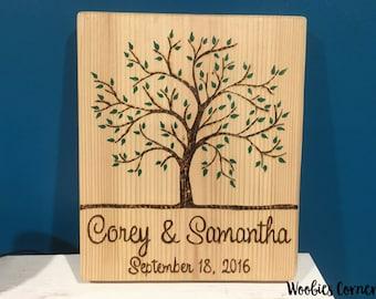 Personalized Wedding gift, Custom Wedding Sign, Rustic Family Established Sign, WOOD BURNED Name Sign, Custom wood sign