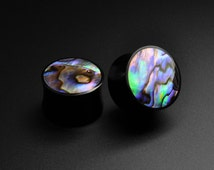 Buffalo Horn Plugs with Abalone Shell Inlay | Handmade Ear Plugs from Stretch It Body Jewellery | Sizes 4mm - 25mm