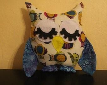 Owl/batik print stuffed sleepy owl/nursery decor
