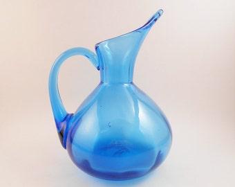 Modernist Blenko-style Hand Blown Pitcher - Art Glass