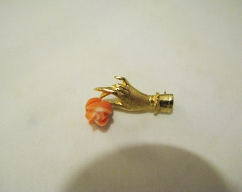Vintage 14k Yellow Gold Hand Holding a Carved Coral Flower