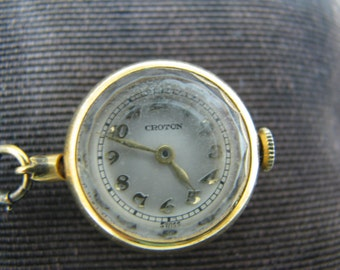 c630 Croton Vintage Ball Lapel Watch with Decorative Watch Pin