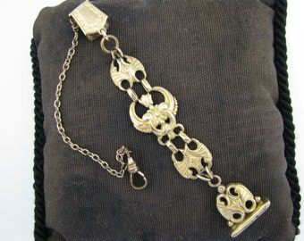 Handsome Vintage Pocket Watch Chain and Fob on a Waist Clip with Signet