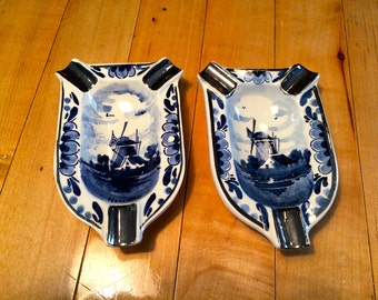 PAIR of 2 DELFT ASHTRAYS with Silver Trim, Hand Painted & Numbered, Made in Holland, Windmill, Unused, Blue and White, Home Decor