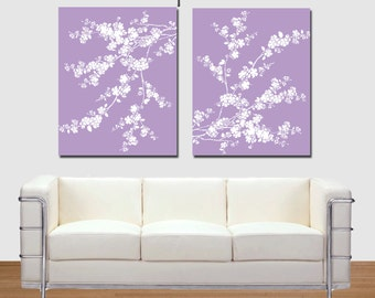 Modern Cherry Blossom, Lavender Cherry Blossom set, Floral print, Nursery Wall Art, Purple and White, 8x10, 16x20 poster, printable art