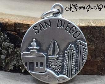 San Diego Charm, California Charm, San Diego Pendant, Sterling Silver San Diego Charm, Sterling Silver Charm, PS31102