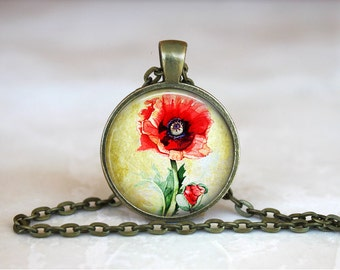REMEMBRANCE POPPY Pendant •  Anzac Day •  Lest We Forget •  Vintage Poppy •  Remembrance Gifts • Gift Under 20 • Made in Australia (P0180)