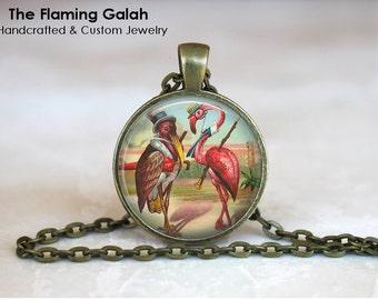PINK FLAMINGO Pendant •  Vintage Flamingo •  Retro Flamingo •  Golfing Flamingo • Gift Under 20 • Made in Australia (P0137)