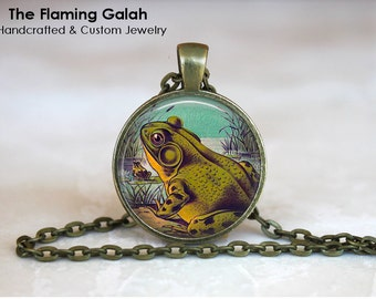 GREEN FROG Pendant •  Retro Frog •  Vintage Toad •  Tree Frog • Gift Under 20 • Made in Australia (P0231)