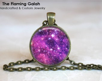 PURPLE NIGHT SKY Pendant •  Purple Space • Purple Universe • Night Sky Jewellery • Outer Space • Gift Under 20 • Made in Australia (PO2020)