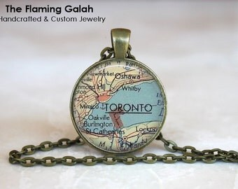 TORONTO Map Pendant • Vintage Toronto Map • Old Toronto Map • Canadian Map • Gift Under 20 • Made in Australia (P0484)