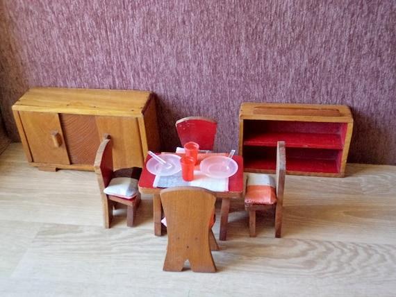 Vintage doll house furniture dining room set wooden - Dollhouse dining room furniture ...