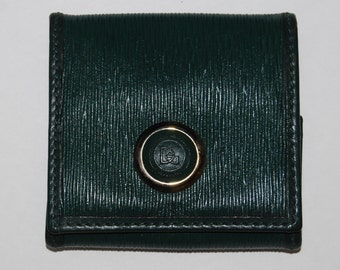 Vintage Angiolo Del Gobbo Green Leather Coin Purse / Wallet   FIRENZE, ITALY