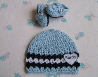 New Handmade Crochet Baby Boy Personalized Hat and Booties