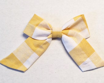 "Yellow Plaid ""retro"" bow"