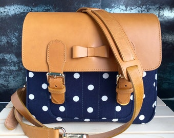 Navy Polkadot Mirroless Camera bag + 1 camera strap ( your can choose camera strap any style that I have )