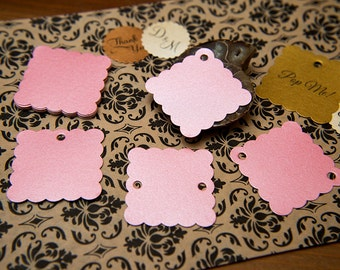 """Blush Pink Pearlised 1.5"""" Square Luxury Gift Tags, Blank Tags, Wishing Tree Tags, Wedding favour tags, Jewellery Tag, wedding favor 1.5 inch"""