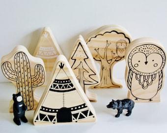 Tee Pee Natural Wood Handmade Decor Mate / Play / Imagination