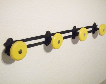 Vintage Pop Mid Century Coat Hook / Hat Rack  French Coat Hooks Black and yellow