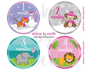 Month by Month Baby Girl Stickers - Jungle Animals Theme
