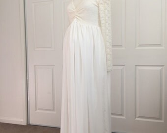 Baby shower dress, Cream Lining Lace Chiffon long sleeves maternity wedding gown, Long sleeves Maternity Dress
