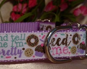 "Feed Me and Tell Me I'm Pretty Glitter 1"" Width Adjustable Martingale Dog Collar"