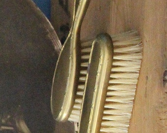 Vintage Child's Gold Gilt Hair and Clothes Brush Set