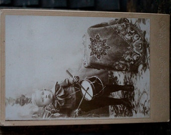 Cabinet Card Victorian Drummer Boy Stacy Brothers Sodus and Alton, NY