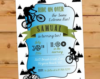 Bicycle Birthday Invite, Bicycle Birthday Party, Mountain Bike, BMX party, Motorcross Birthday Invite, Bicycle Birthday Boy, Mountain, Bike