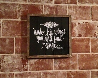 Hand painted Psalm 91 sign with barn wood frame