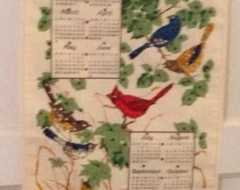 Vintage 1985 Colorful Birds Linen Calendar