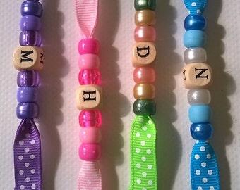Handmade ribbon personalised letter key fob~school bag tag~sewing or knitting bag beaded ribbon keyring