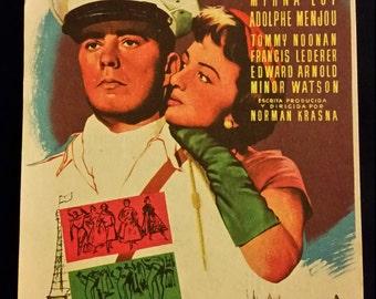 Original 1955 The Ambassador's Daughter Spanish Hearld Movie Poster Myrna Loy, Olivia DeHavilland
